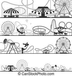 Set of horizontal amusement park silhouettes. Vector illustrations of roller coasters