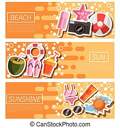 Set of Horizontal Banners about Beach
