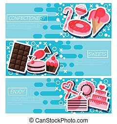 Set of Horizontal Banners about confectionery