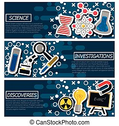 Set of Horizontal Banners about Science