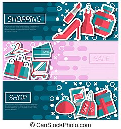Set of Horizontal Banners about shopping