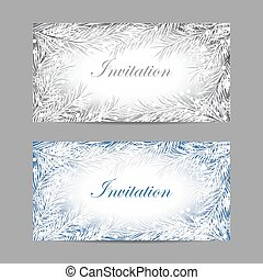 Set of horizontal banners. Decorative frame with fir...