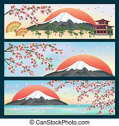Set of horizontal beautiful banners in japanese style with sakura blossom - japanese cherry tree . Japanese vector background. Vector illustration