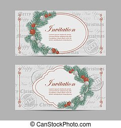 Set of horizontal banners. Merry Christmas and New year invitations with tree branches decorated with balls in vintage style