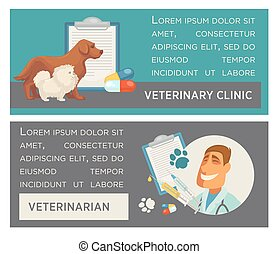 Set of horizontal banners. Pet care. Vet clinic. Flat design.