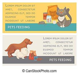Set of horizontal banners. Pet care. Vet clinic. Flat design.