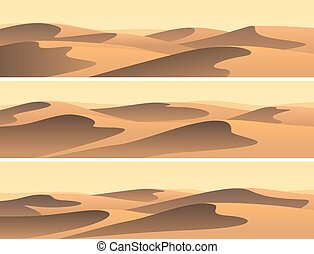 Set of horizontal banners sandy desert.