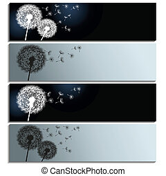 Set of horizontal banners with black and white dandelions -...