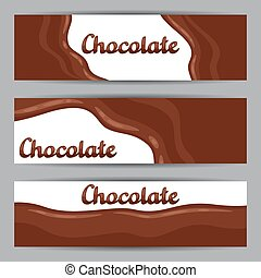 Set of horizontal banners with chocolate flow