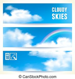 Set of Horizontal Banners with Clouds. Vector illustration, eps10, editable.
