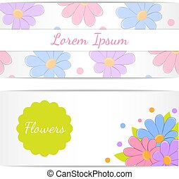 Set of horizontal banners with flowers.
