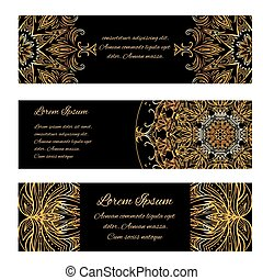 Set of horizontal banners with golden luxury vintage pattern and