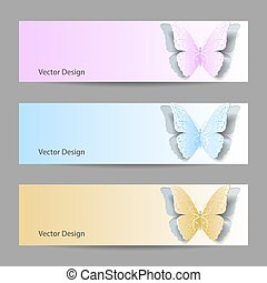 Set of horizontal banners with paper butterflies