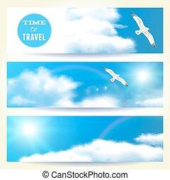 Set of Horizontal Banners with Seagulls. Vector illustration, eps10, editable.
