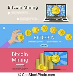 Set of horizontal bitcoin banners for web-sites