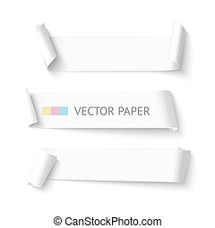 Set of horizontal blank white curved paper ribbon banner. Realistic vector template