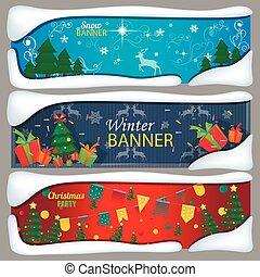 Set of horizontal Christmas, New Year banners