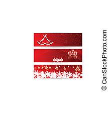 Set of horizontal Christmas vector banners