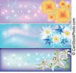 Set of horizontal floral banners