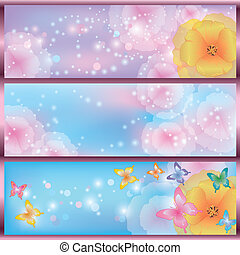 Set of horizontal glowing floral banners with flowers California poppies and butterflies. Greeting or invitation card. Vector illustration