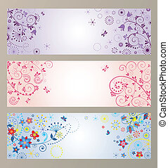 Set of horizontal greeting banners