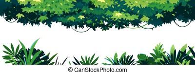 Set of horizontal jungle leaves isolated