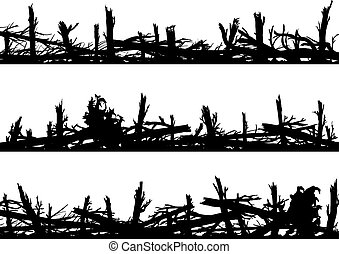 Set of horizontal silhouette banners with windbreak forest....