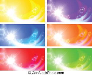 Set of horizontal sunny banners