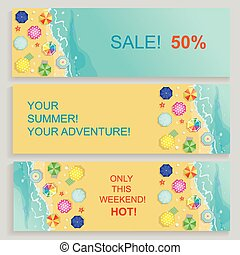Set of Horizontal travel summer Banners with seaside and starfish. Vector illustration