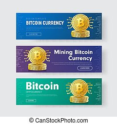Set of horizontal vector web banners with a stack of gold coins of crypto currency bitcoin with a chip.
