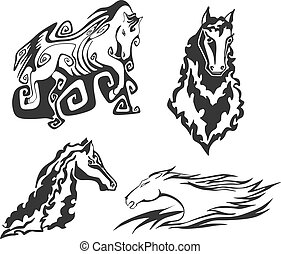 Set of horses for tattoo stencils