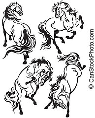 set of horses tattoo ,black and white images