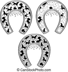 Set of horseshoes with horse pattern. Shirt design. Vector illustration.