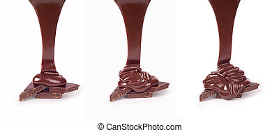 set of hot chocolate streams isolated on white