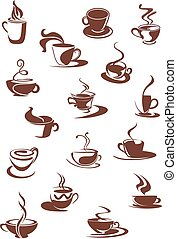 Set of hot coffee sketches