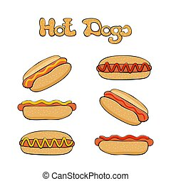 Set of Hot dogs - Hot dog on white background, fast food...