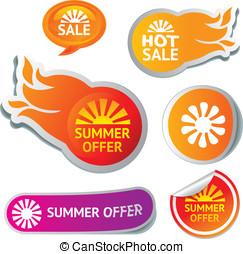 set of hot summer sale stickers