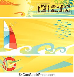 Set of hot travel banners