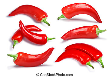 Set of Hungarian Hot Wax or Paprika peppers (Capsicum annuum). Clipping paths for each pepper, shadows separated, top and ngle views