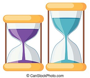 Set of hourglass on white background