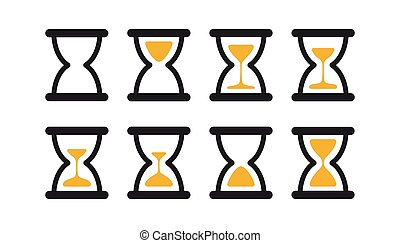 Set of hourglass sprites illustration for animation frames. Black sand clocks and timers collection on white background.