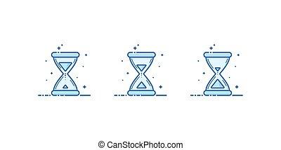 Set of hourglass. Vector illustration. Flat linear design.