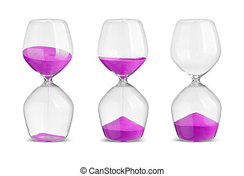 Set of hourglasses on white background