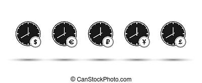 Set of hours with currency symbols. Flat design