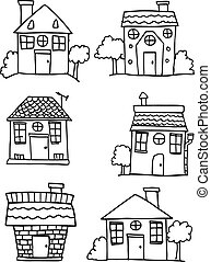 Set of house and building style hand draw