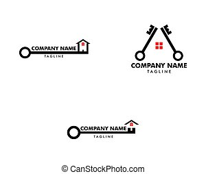 Set of House and key Real Estate Logo Icon