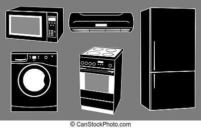 appliances - set of house appliances isolated on gray