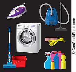 Set of house cleaning equipment - Set of house cleaning and...