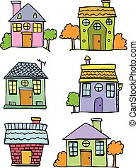 Set of house colorful hand draw
