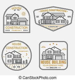 Set of House construction company identity with suburban american house. Vector illustration. Thin line badge, sign for real estate, building and construction company related business.